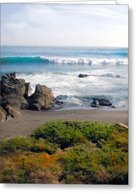 Bands Of Green Brown And Blue Of The Beach Greeting Card by Elaine Plesser