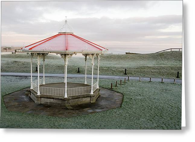 Greeting Card featuring the photograph Bandstand In Winter by Jeremy Voisey