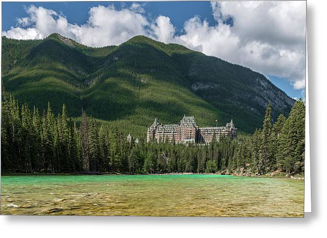 Banff Springs Hotel By Bow River Greeting Card