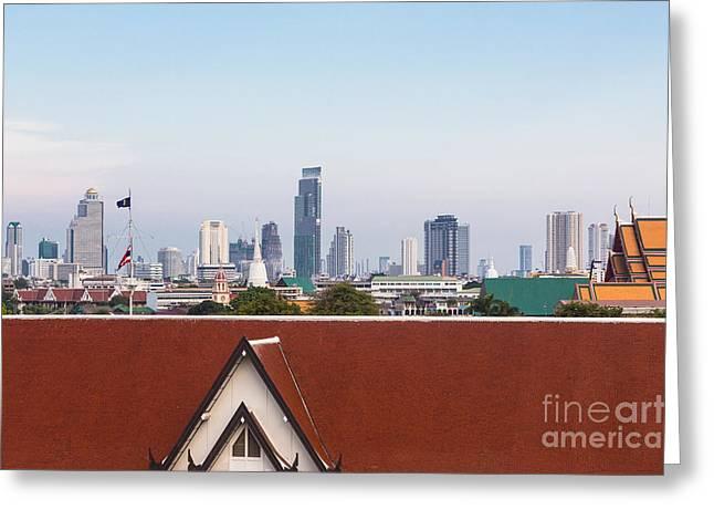 Bangkok Modern Vs Traditional Greeting Card