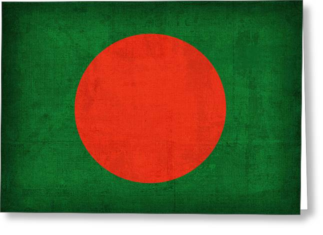 Bangladesh Flag Vintage Distressed Finish Greeting Card by Design Turnpike