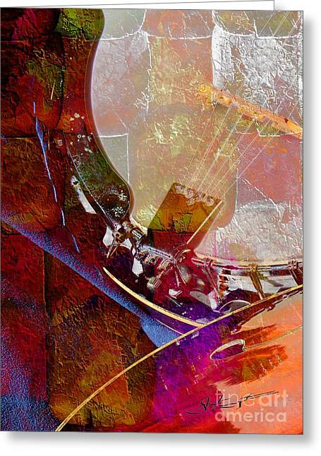 Banjo And Friend Digital Banjo And Guitar Art By Steven Langston Greeting Card by Steven Lebron Langston