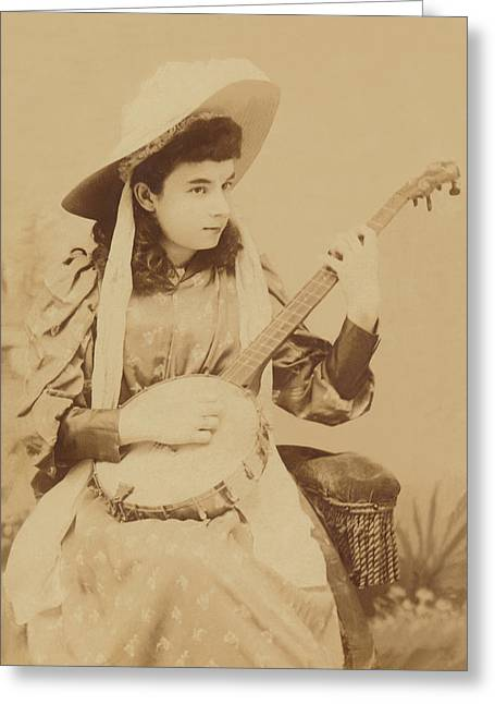 Banjo Girl 1880s Greeting Card by Paul Ashby Antique Image