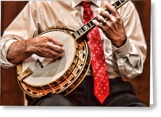 Banjo In Arms Greeting Card by Linda Phelps