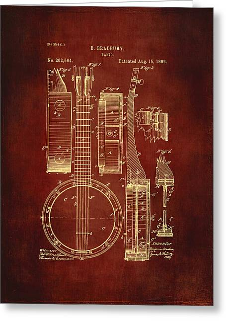 Banjo Patent Drawing - Burgundy Greeting Card by Maria Angelica Maira