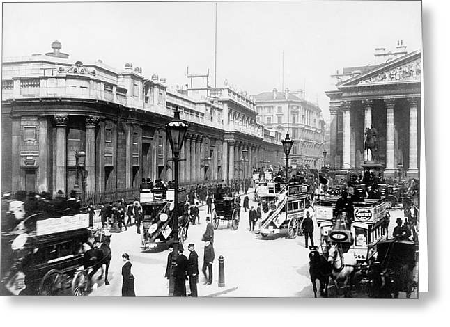 Bank Junction Horse-drawn Traffic Greeting Card by Library Of Congress