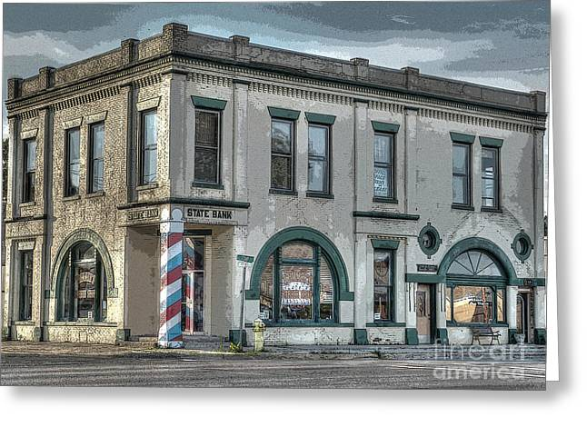 Bank To Barbershop Greeting Card