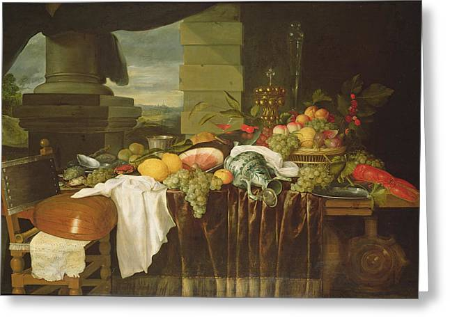 Banquet Still Life Oil On Canvas Greeting Card by Andries Benedetti