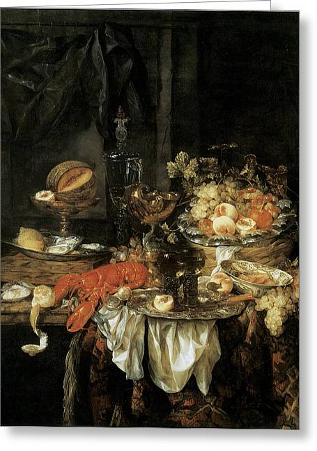 Banquet Still Life With A Mouse Greeting Card by Abraham van Beyeren