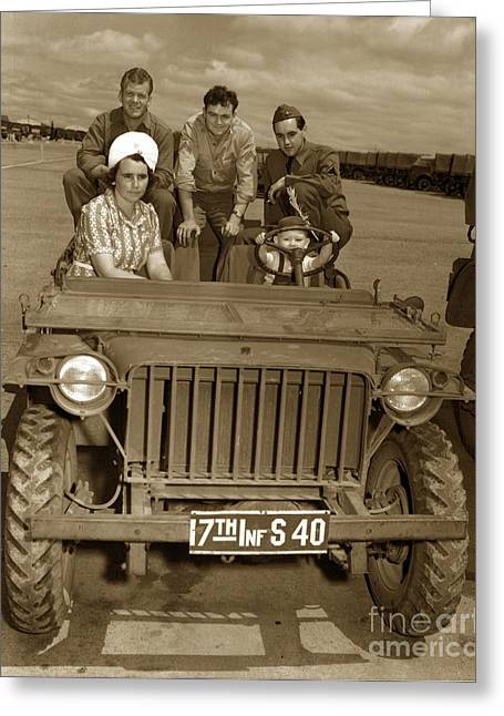 Bantam Jeep 17th Infantry Fort Ord Army Base 1950 Greeting Card