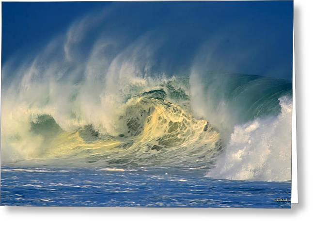 Greeting Card featuring the photograph Banzai Pipeline Crashing Wave by Aloha Art