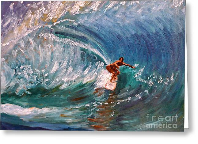 Banzai Pipeline In Oahu Greeting Card by Amy Fearn
