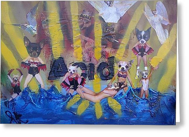 Greeting Card featuring the painting Baptism In Acid by Lisa Piper