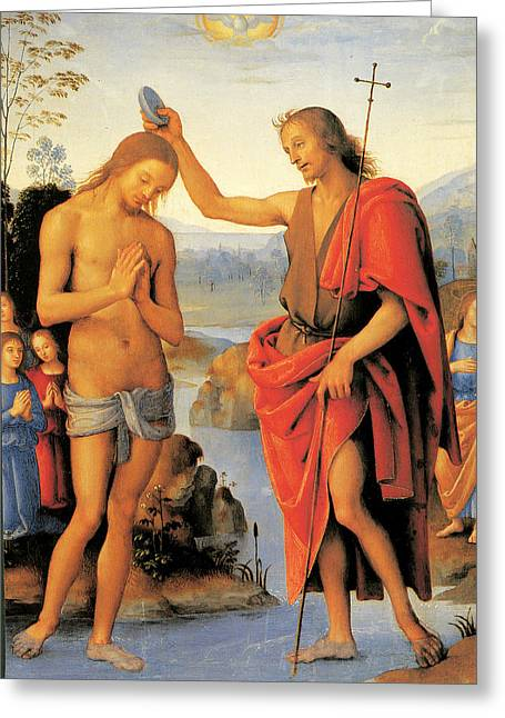Baptism Of Christ Greeting Card by Pietro Perugino