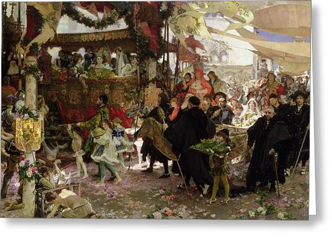 Baptismal Procession Of Prince Juan In Seville Oil On Canvas Greeting Card by Francisco Pradilla y Ortiz