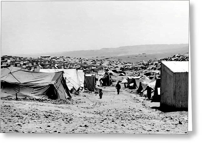 Baqa'a Refugee Camp Greeting Card by Munir Alawi