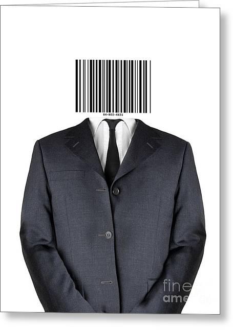 Bar Code Man Greeting Card by Shawn Hempel