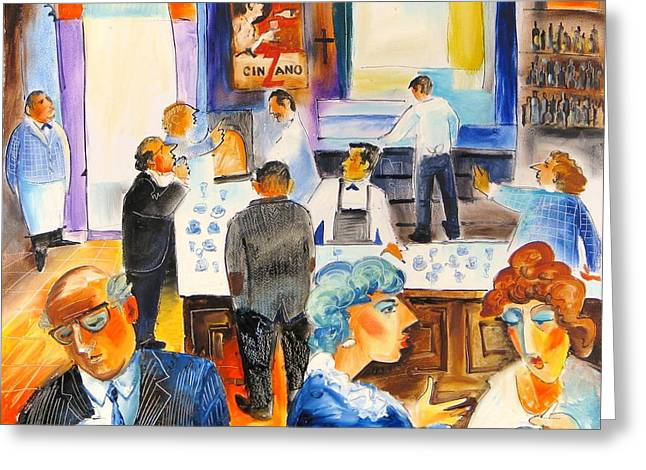 Bar Roberto In Rome Greeting Card by Mikhail Zarovny