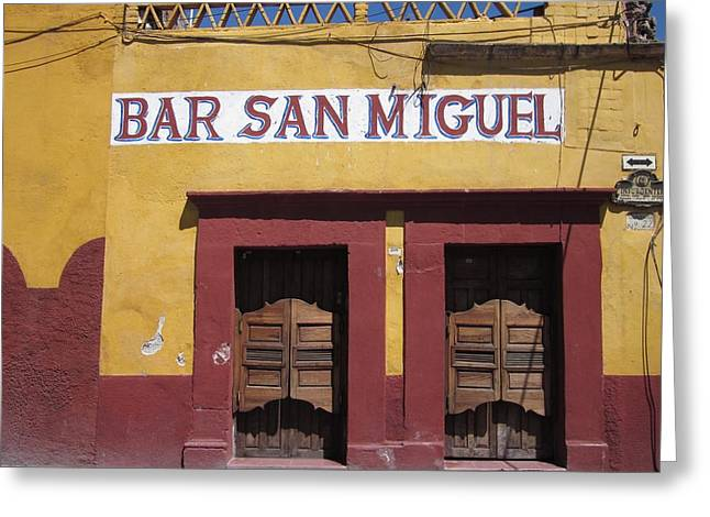 Bar San Miguel Greeting Card by Marianne Werner
