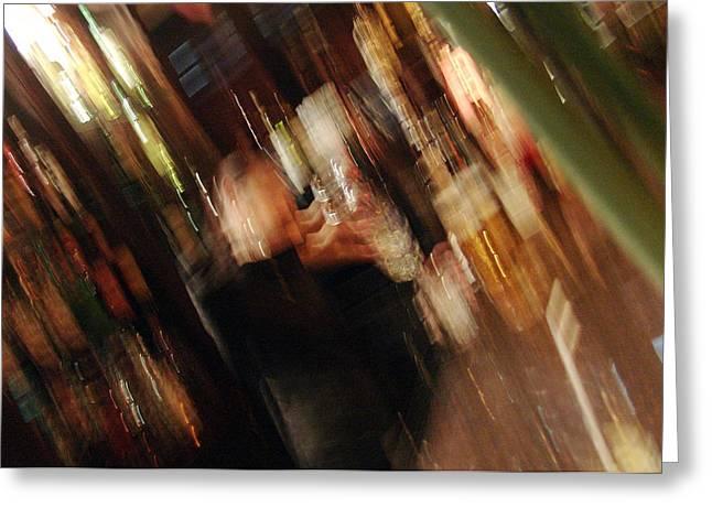 bar with Lucy Greeting Card by Mieczyslaw Rudek Mietko