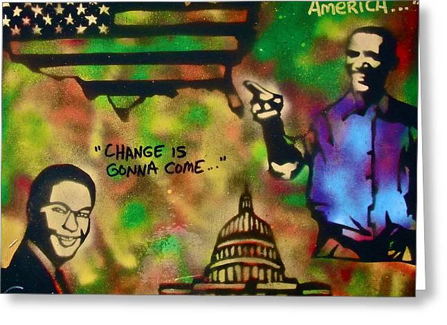 Barack And Sam Cooke Greeting Card