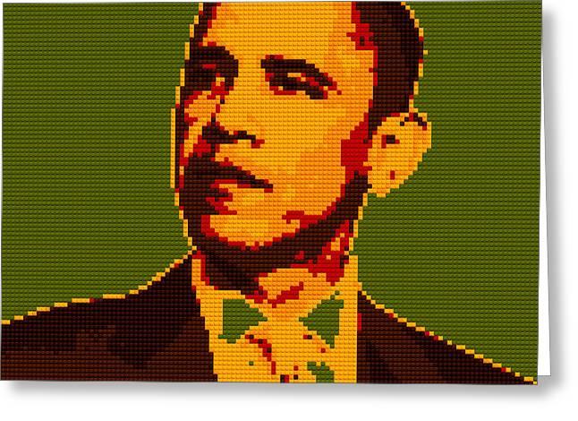 Barack Obama Lego Digital Painting Greeting Card by Georgeta Blanaru