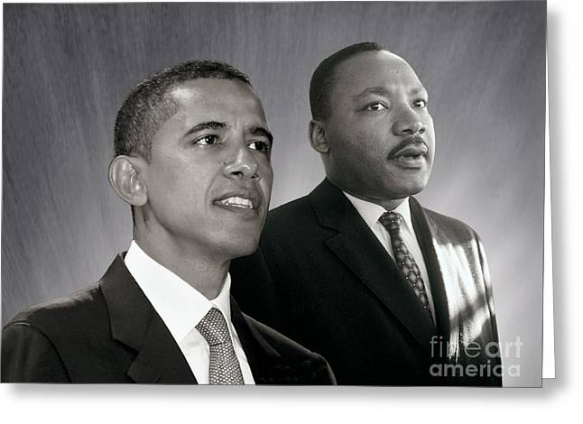 Greeting Card featuring the photograph Barack Obama  M L King  by Martin Konopacki Restoration
