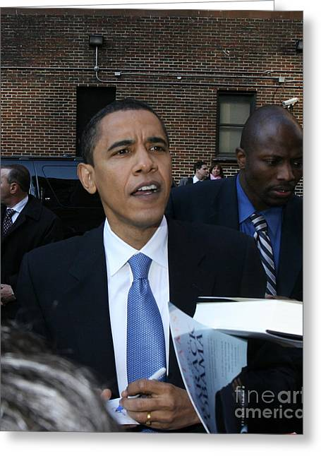 Barack Obama Nyc 4-9-07 Greeting Card by Patrick Morgan
