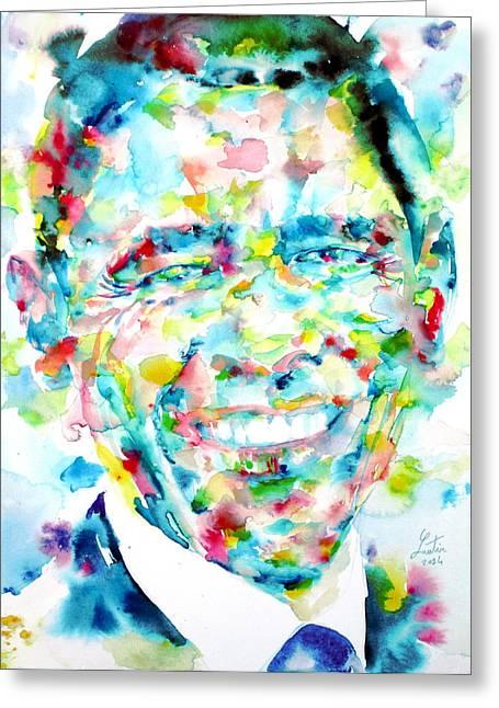 Barack Obama - Watercolor Portrait Greeting Card by Fabrizio Cassetta