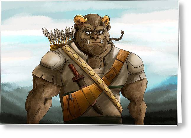 Greeting Card featuring the painting Baragh The Hoargg Warrior by Reynold Jay