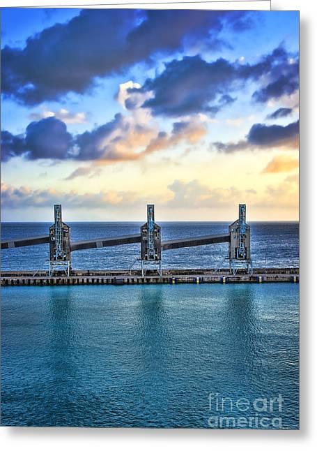 Greeting Card featuring the photograph Barbados Sugar Silos by Ken Johnson