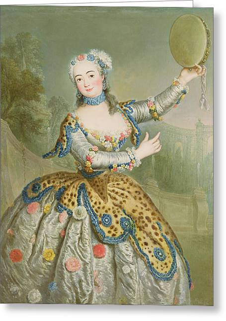 Barbara Campanini Oil On Canvas Greeting Card by Antoine Pesne