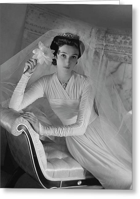 Barbara Cushing In Her Wedding Dress Greeting Card by Horst P. Horst