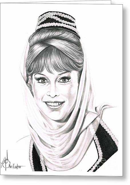 Barbara Eden Greeting Card by Murphy Elliott