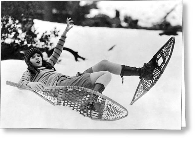 Barbara Kent Tries Snowshoeing Greeting Card by Underwood Archives