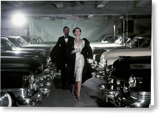 Barbara Mullen With Cars Greeting Card by John Rawlings