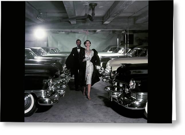 Barbara Mullen With Cars Greeting Card by John Rawlings