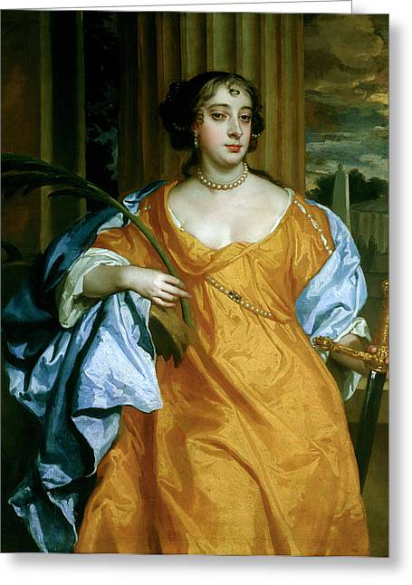 Barbara Villiers, Duchess Of Cleveland As St. Catherine Of Alexandria, C.1665-70 Oil On Canvas Greeting Card by Sir Peter Lely