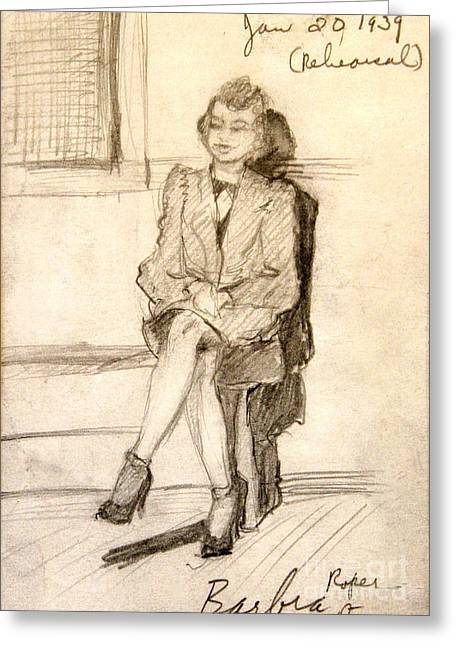 Barbara Waiting For Rehearsal  1939 Greeting Card