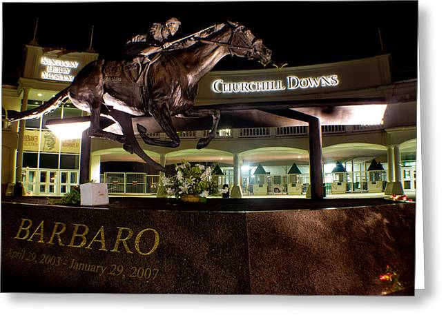 Barbaro Statue Outside Of Churchill Downs  Greeting Card