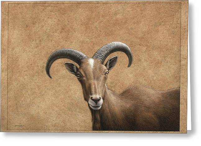 Barbary Ram Greeting Card by James W Johnson