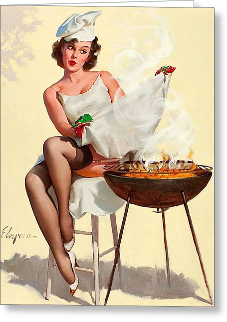 Barbecue Pin-up Girl Greeting Card