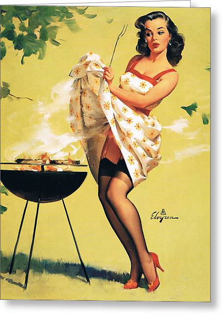 Barbecue Time - Retro Pinup Girl Greeting Card