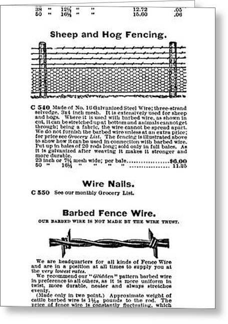 Barbed Wire Advertisement Greeting Card by Granger