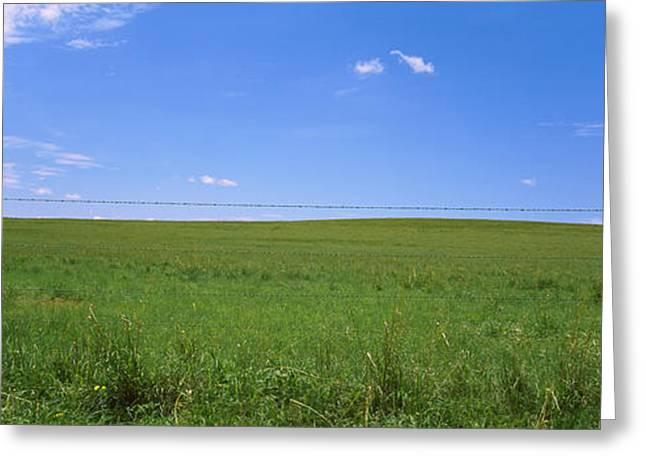 Barbed Wire Fence In A Field, San Greeting Card by Panoramic Images
