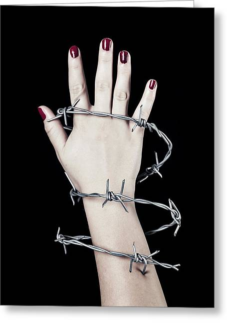 Barbed Wire Greeting Card by Joana Kruse