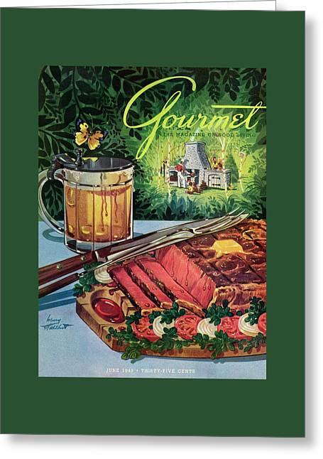 Barbeque Meat And A Mug Of Beer Greeting Card by Henry Stahlhut