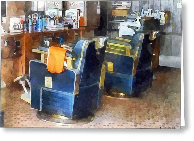 Barber Chair With Orange Barber Cape Greeting Card