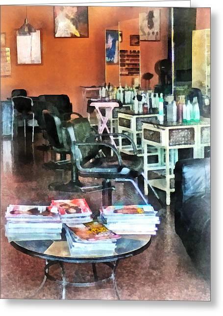 Barber - Hair Salon Greeting Card by Susan Savad