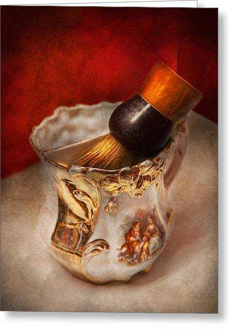 Barber - Shaving - The Beauty Of Barbering Greeting Card by Mike Savad